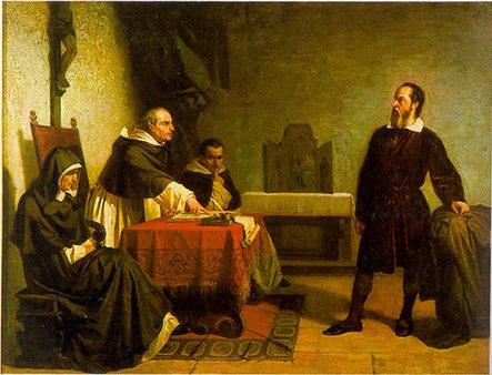 Galileusz przed rzymską inkwizycją Źródło: Cristiano Banti, Galileusz przed rzymską inkwizycją, 1857, domena publiczna.