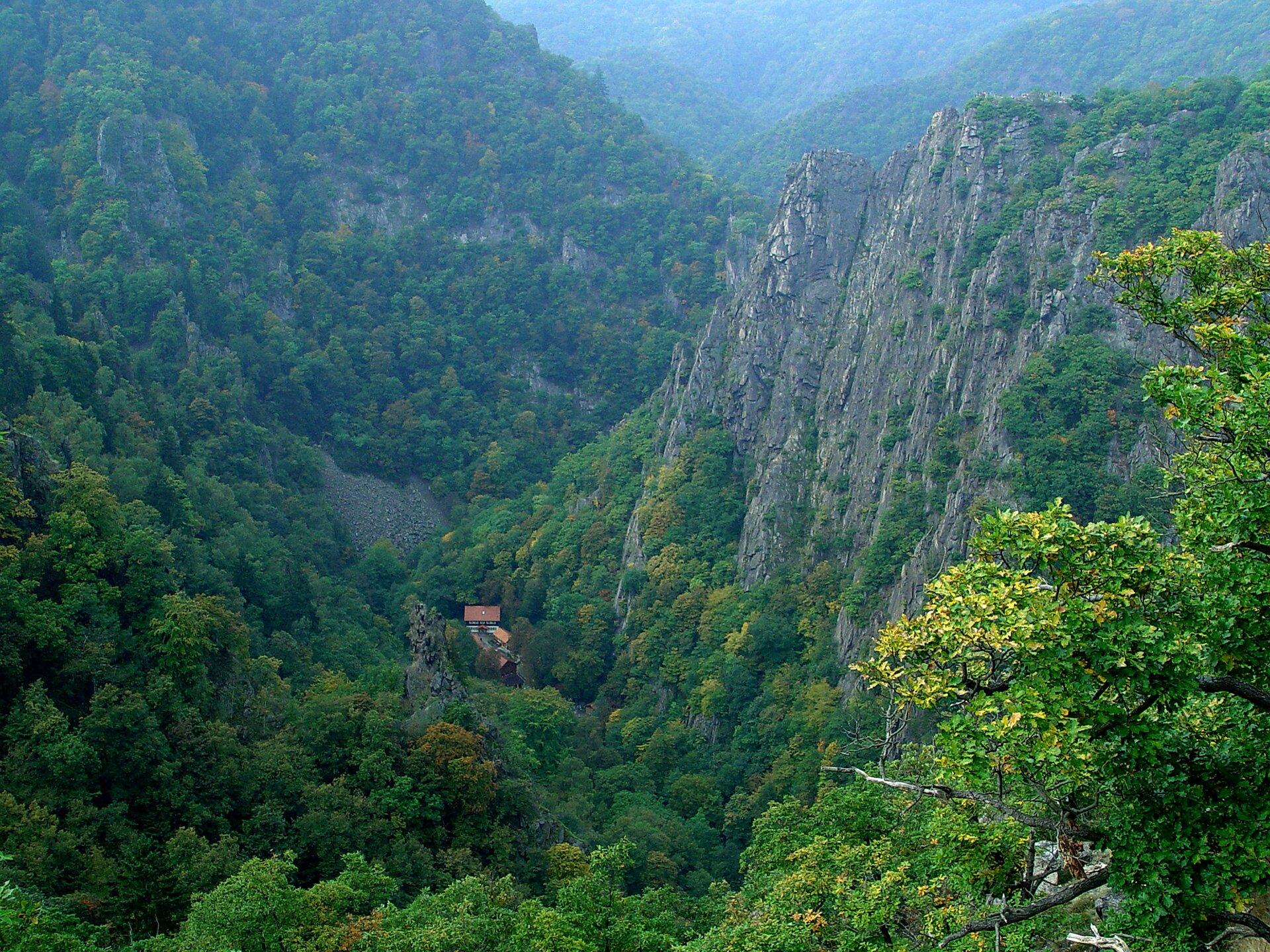 Na zdjęciu bardzo wysokie góry ocharakterze zrębowym porośnięte bujnymi lasami, wcentrum głęboka kotlina, zabudowania.