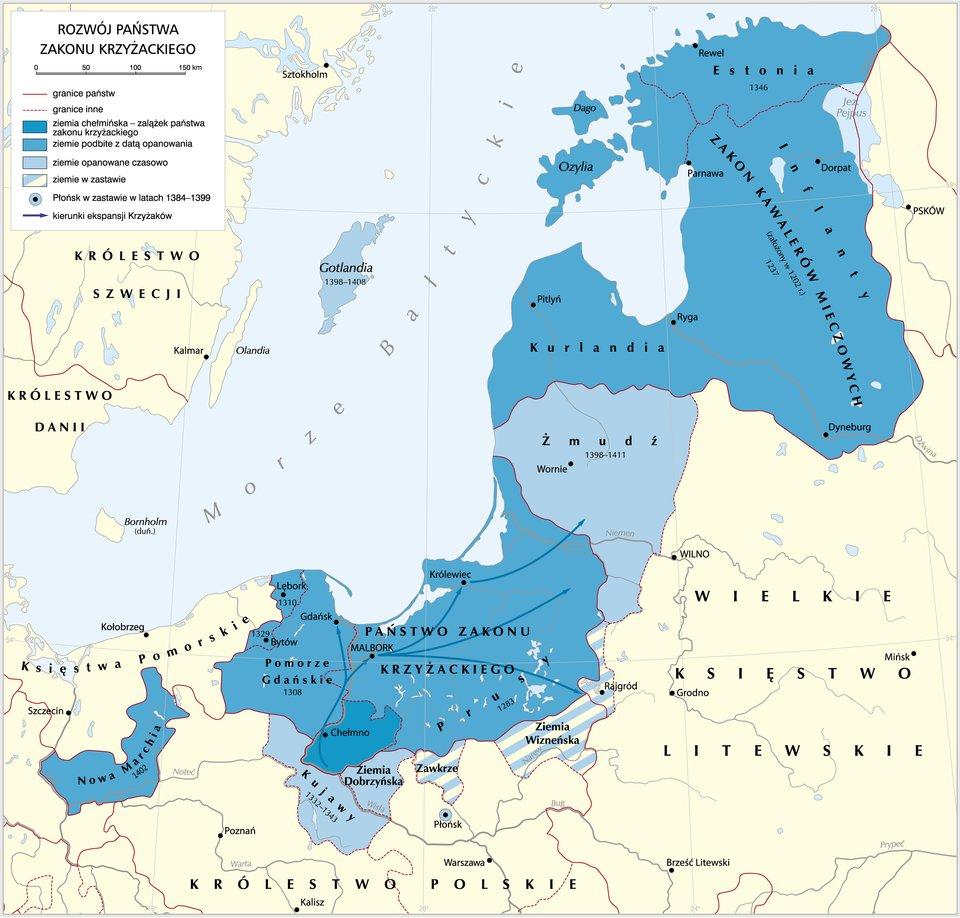Tworzenie się państw zakonów rycerskich wrejonie Bałtyku. Stan zok. 1260 r. Tworzenie się państw zakonów rycerskich wrejonie Bałtyku. Stan zok. 1260 r. Źródło: S. Bollmann, licencja: CC BY-SA 3.0.