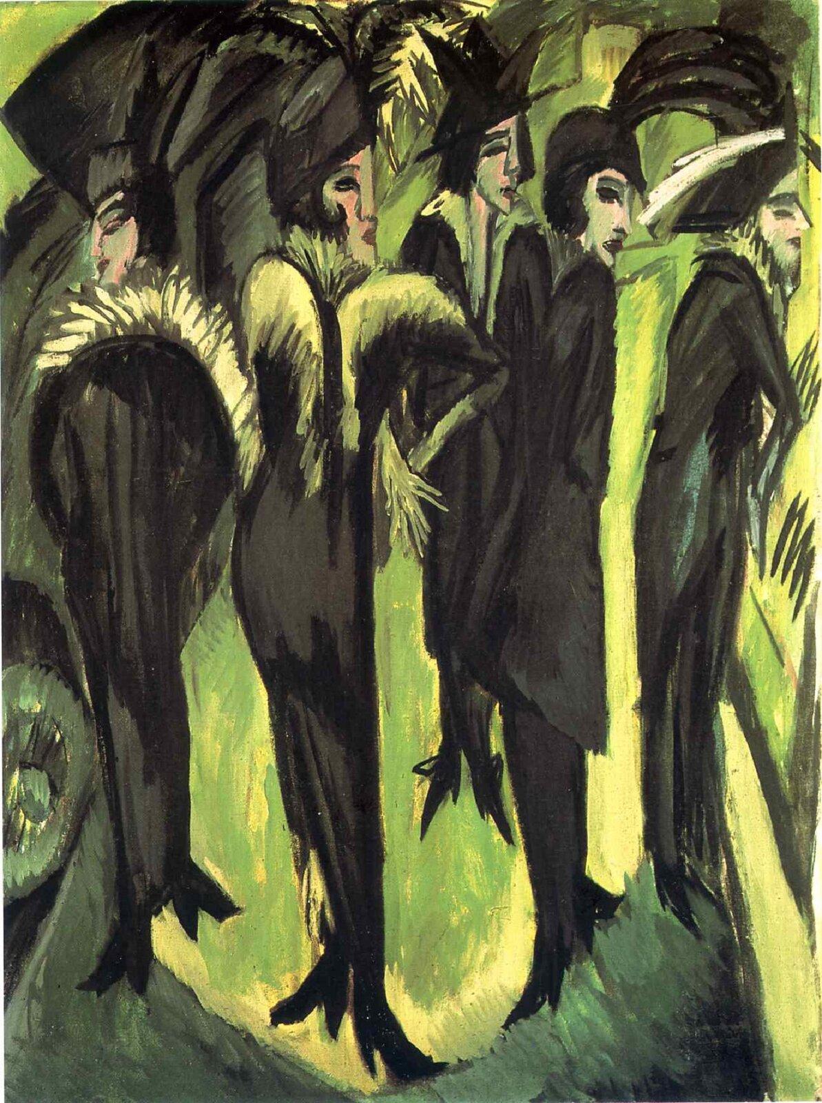 """Ilustracja przedstawia obraz Ernsta Ludwiga Kirchnera pt. """"Pięć kobiet na ulicy"""". Dzieło przedstawia pięć kobiet wczarnych płaszczach zbiałym futrem iczarnych kapeluszach. Ich twarze są szpiczaste, atło maja odcienie żółci izieleni. Nastrój tego obrazu jest poważny iwyniosły. Dzieło ma małą gamę kolorów."""