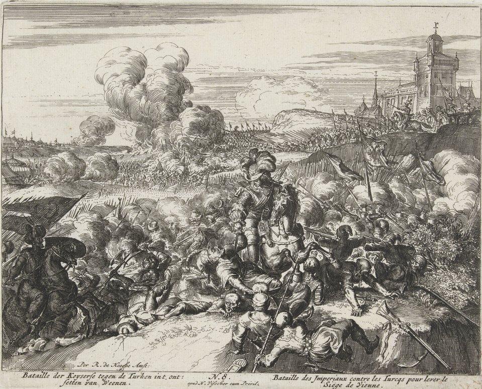 Oblężenie Wiednia - seria Walka oddziałów habsburskich zTurkami pod Wiedniem. Źródło: Romeyn de Hooghe, Oblężenie Wiednia - seria, 1684, akwaforta, Rijksmuseum (hol. Muzeum Państwowe) wAmsterdamie, domena publiczna.