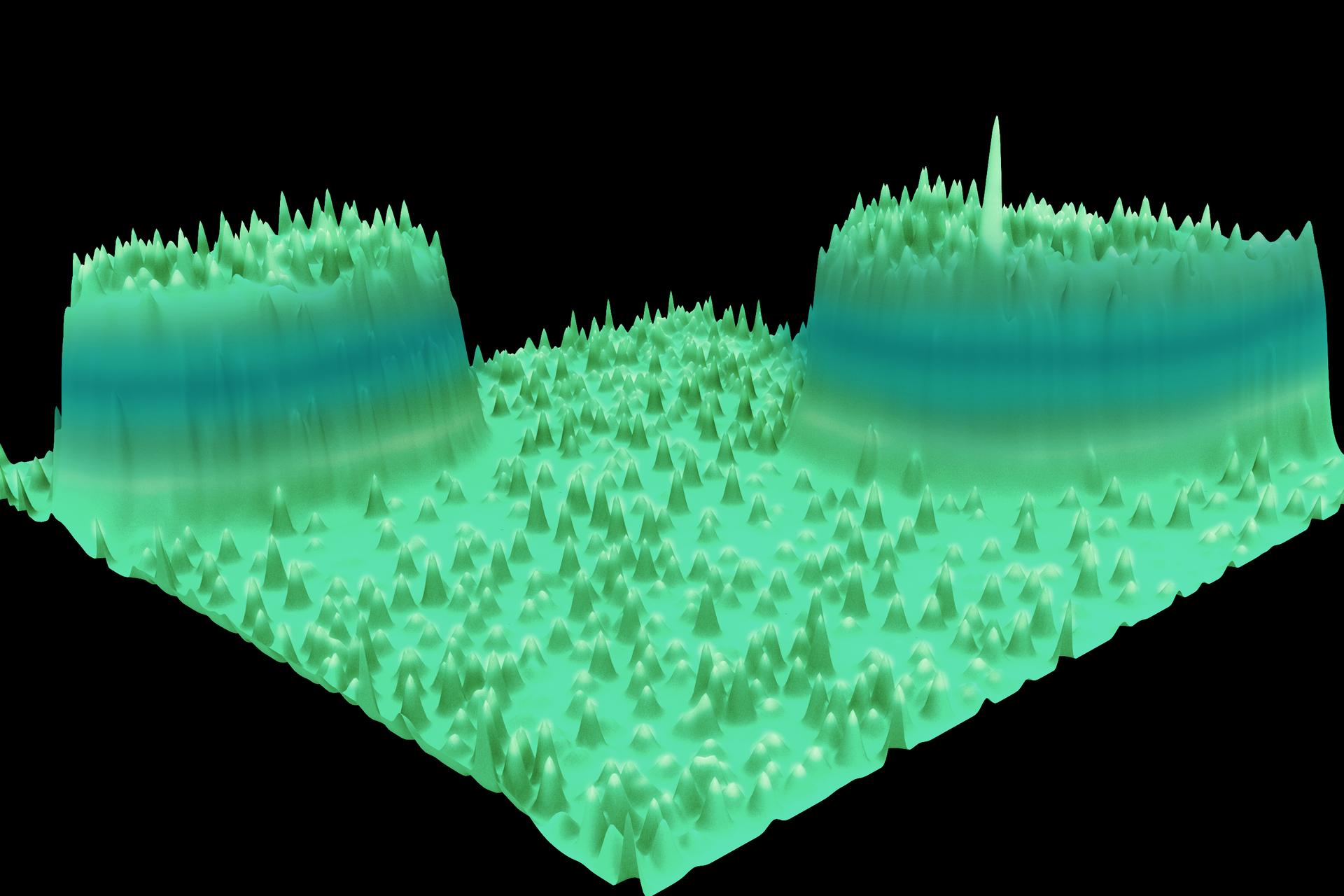 Schemat przedstawia trójwymiarowy makroskopowy obraz atomów.