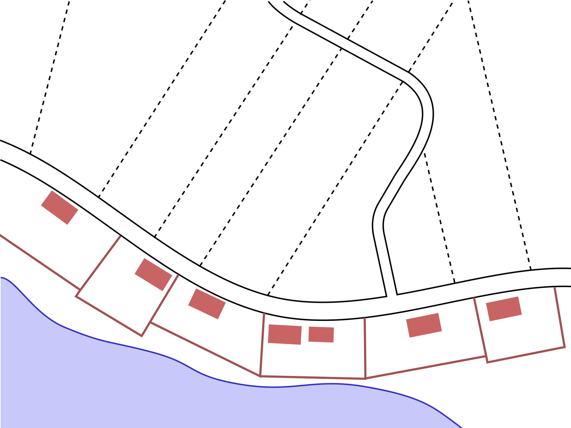 Na ilustracji schemat wsi ozabudowie luźno rozrzuconej wzdłuż jednej strony głównej drogi.