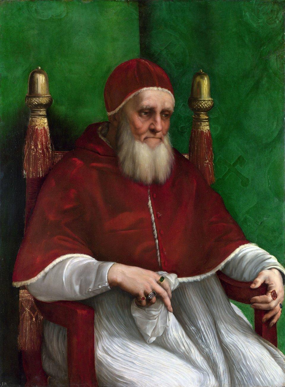 Papież Juliusz II Juliusz II (właśc. Giuliano della Rovere; ur. 5 grudnia 1443 wAlbisoli, zm. 21 lutego 1513 wRzymie) – papież wokresie od 1 listopada 1503 do 21 lutego 1513.Jego wielką zasługą, poza dobrym administrowaniem papieskim skarbcem oraz odbudową wizerunku stolicy apostolskiej, była opieka (mecenat), jaką roztaczał nad artystami tej miary, co Michał Anioł, Donato Bramante czy Rafael Santi. Wielką, nawet wówczas, gdy prawdziwe jest twierdzenie, że główną intencją mecenasa jest chęć zapisania się wpamięci potomnych Źródło: Rafael Santi, Papież Juliusz II, 1511, olej na topoli, National Gallery, domena publiczna.