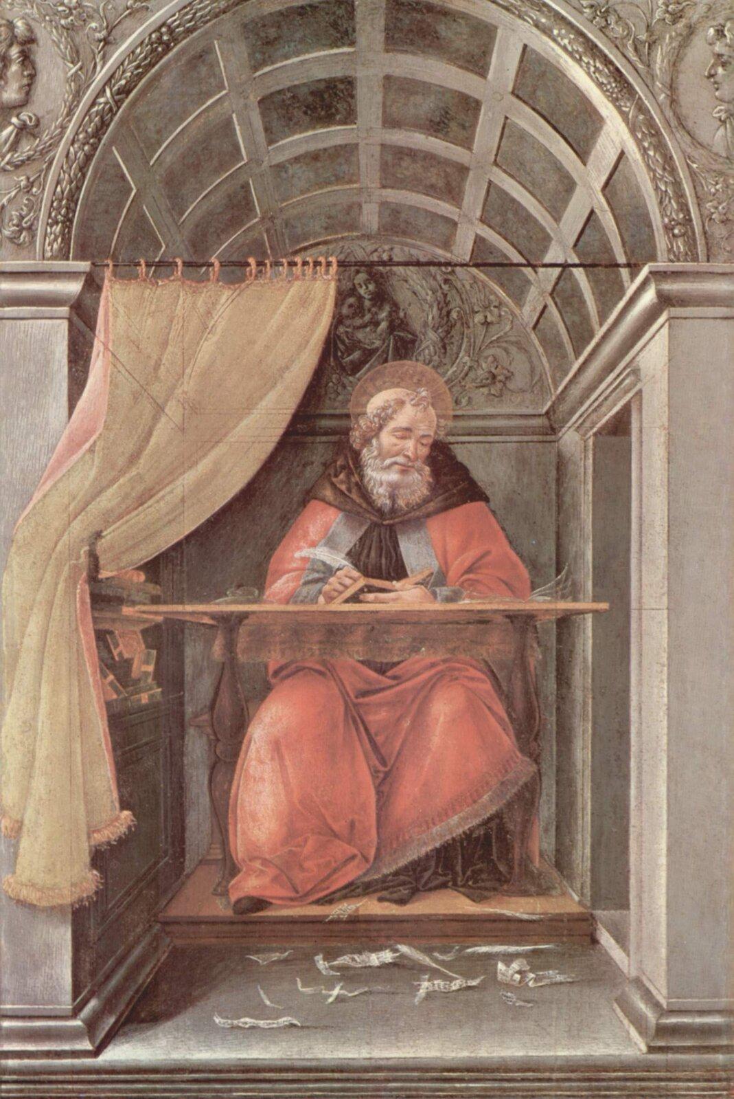 Św. Augustyn wceli Spróbuj wyjaśnić, dlaczego Botticelli przedstawił świętego wykonującego właśnie takie zajęcia. Źródło: Sandro Botticelli, Św. Augustyn wceli, 1490–1495, tempera na drewnie, Galleria degli Uffizi, Florencja, domena publiczna.