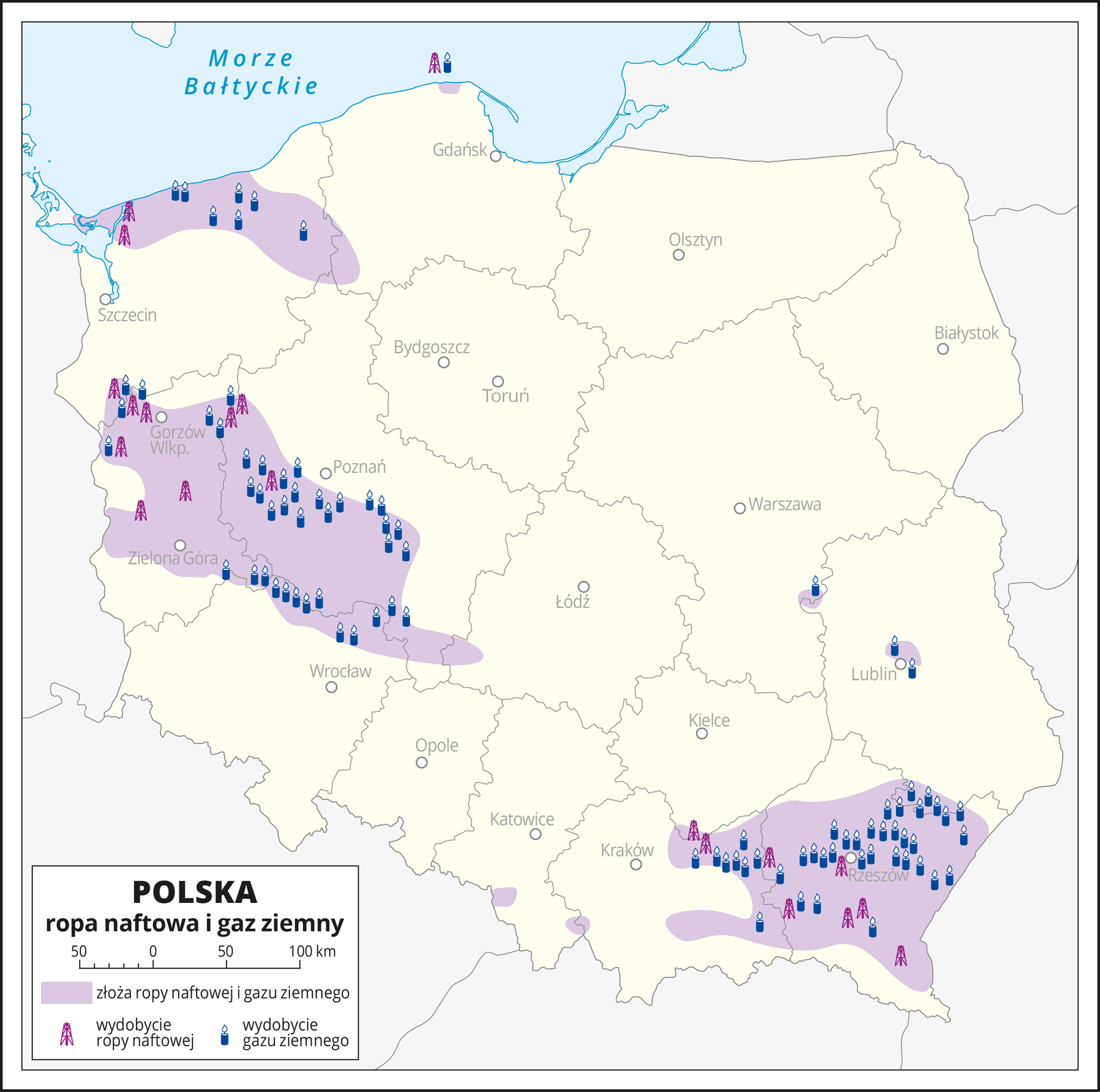 Ilustracja przedstawia mapę Polski zpodziałem na województwa. Oznaczono iopisano główne miasta. Na mapie kolorem fioletowym zaznaczono obszary, na których występują złoża ropy naftowej igazu ziemnego. Za pomocą sygnatur oznaczono miejsca ich wydobycia. Pokrywają się one zmiejscem występowania złóż. Ropa naftowa igaz ziemny występują isą wydobywane wwojewództwie podkarpackim, lubuskim, wśrodkowej części województwa wielkopolskiego, północnej części województwa zachodnio-pomorskiego oraz wpółnocnej części województwa dolnośląskiego. Przeważa wydobycie gazu ziemnego. Na dole mapy wlegendzie opisano znaki użyte na mapie.