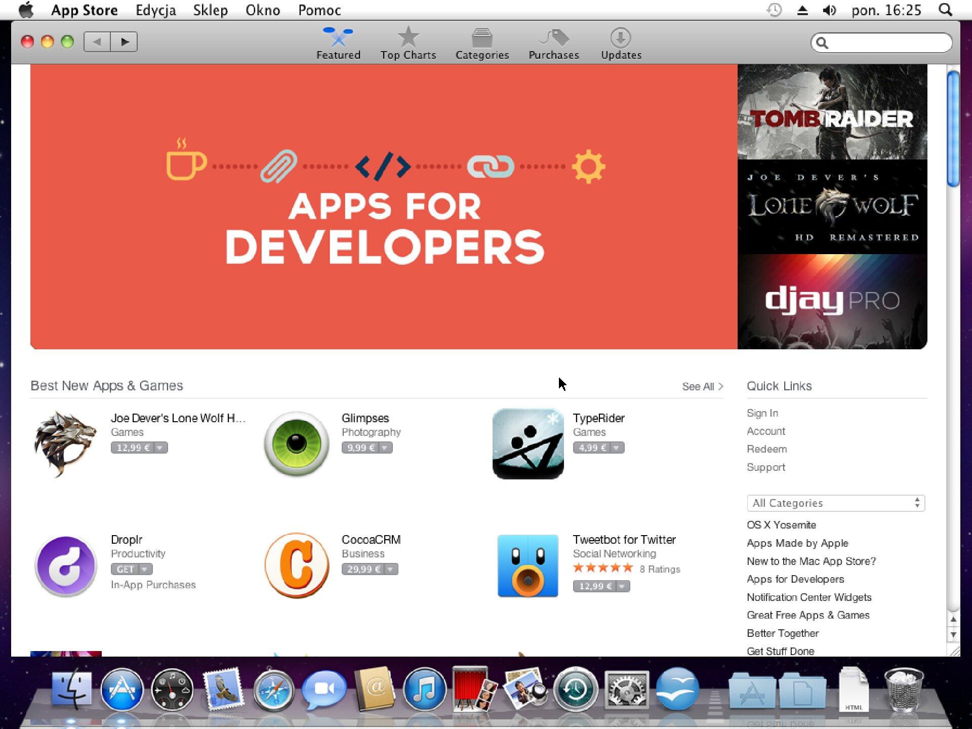 Zrzut okna 1 procesu instalacji programu wsystemie Mac OS X