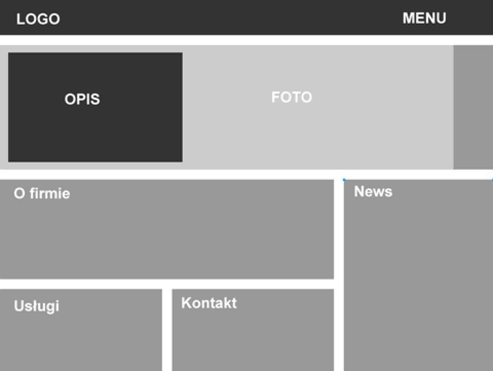Makieta układu projektowanej strony
