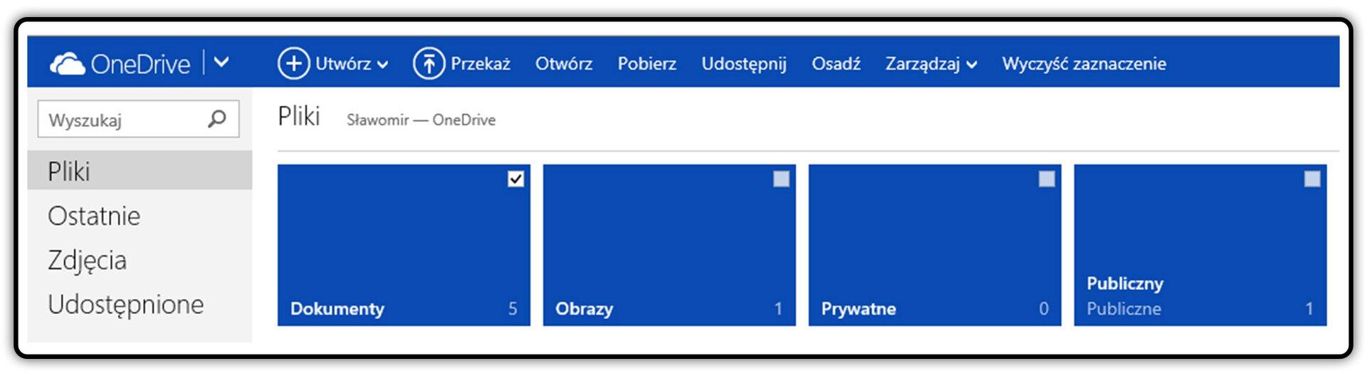 Zrzut fragmentu okna dysku OneDrive