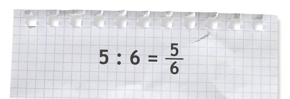 Przykład: 5 dzielone przez 6 = pięć szóstych.