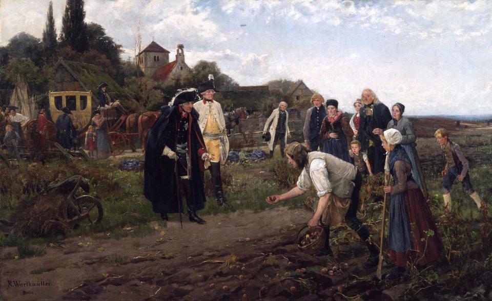 Fryderyk II, król Prus Walory ziemniaków doceniali też władcy. Fryderyk II, król Prus, uznając zalety, przede wszystkim dużą plenność (ilość plonów), jakie można uzyskać, nakazał odgórnie wprowadzać uprawę ziemniaków wswoich krajach. Na zdjęciu obraz namalowany w1886 przez Roberta Warthmülera przedstawiający Fryderyka II podczas jednego zcorocznych objazdów swojego królestwa. Władca zainteresowany jest zbiorami ziemniaków, które pokazuje mu pochylony chłop. Obraz eksponowany jest wMuzeum Historii Niemiec wBerlinie. Źródło: Robert Warthmüller, Fryderyk II, król Prus, 1886, olej na płótnie, Deutsches Historisches Museum, domena publiczna.