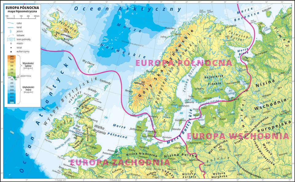 Geog_gim_3_6_2_Europa_PnOdczytaj na mapie nazwy obszarów należących do Europy Północnej