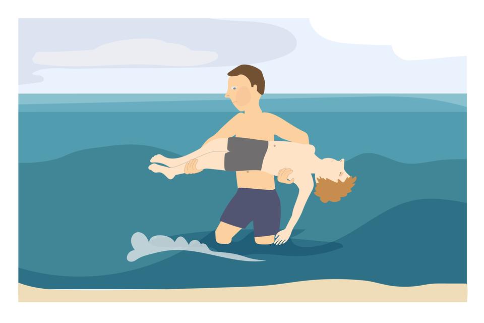 Ilustracja 7. Mężczyzna tylko wkąpielówkach wmorzu. Woda sięga mu do kolan. Mężczyzna niesie nieprzytomnego chłopca. Mężczyzna wynosi zwody chłopca, który tonął. Głowa chłopca po prawej stronie, nogi po lewej. Głowa zwisa wdół. Lewa ręka chłopca bezwiednie zwisa wdół. Mężczyzna niesie chłopca trzymając go wobu rękach. Prawa ręka pod pachą chłopca, lewa pod łydkami chłopca. Instrukcja: wynosząc poszkodowanego zwody trzymaj go tak, żeby głowa znajdowała się poniżej klatki piersiowej.