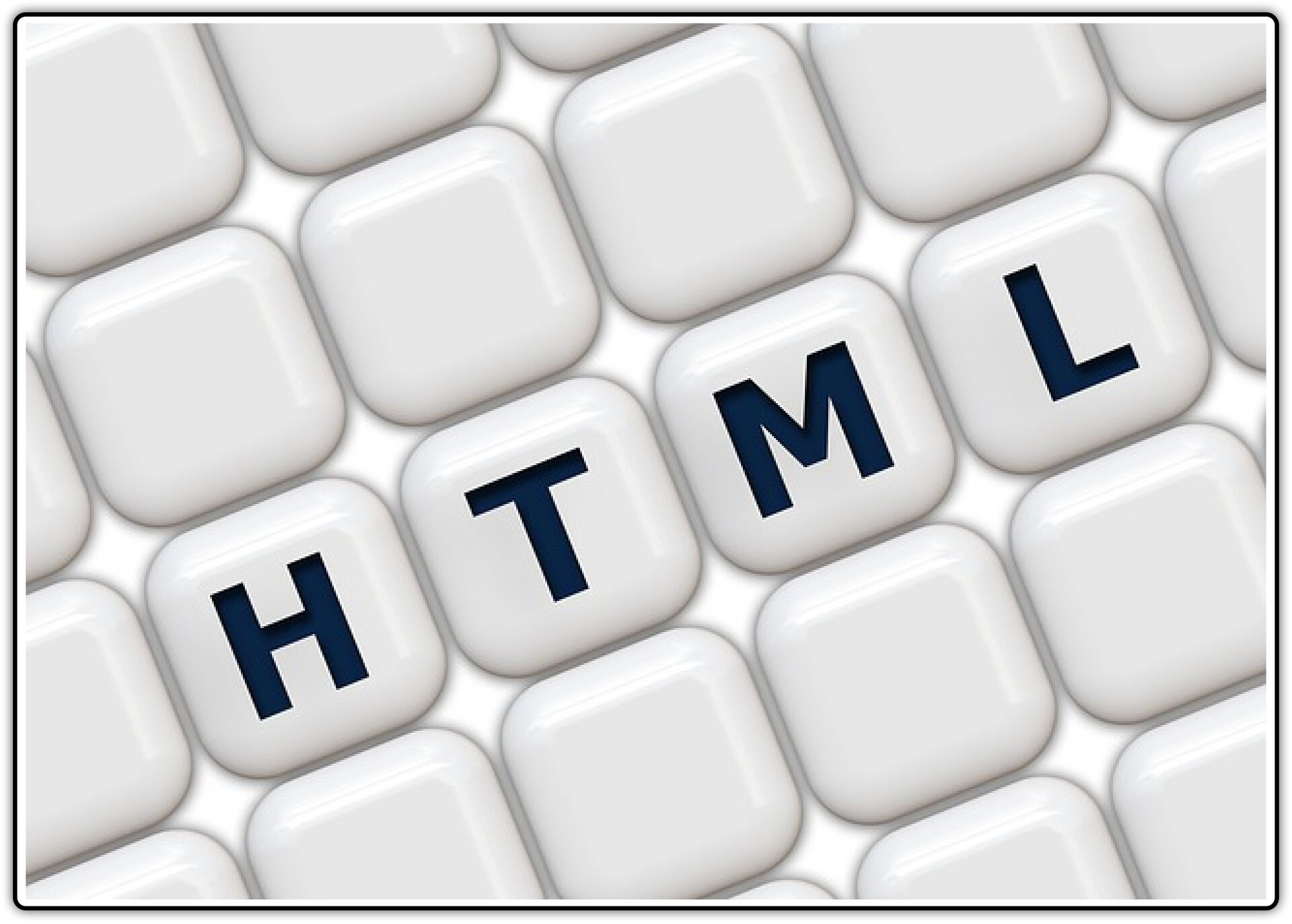 Ilustracja przedstawiająca fragment klawiatury zwidocznym napisem HTML