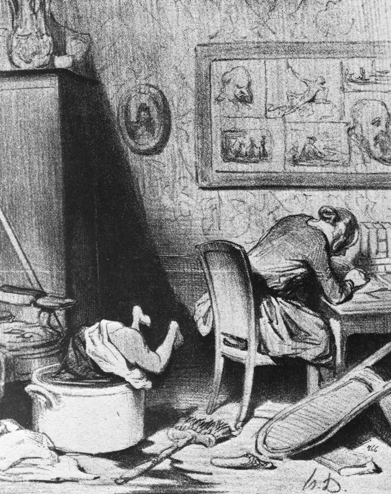 Karykatura. Kobieta zaniedbuje swoją rodzinę Źródło: Honoré Daumier, Karykatura. Kobieta zaniedbuje swoją rodzinę, XIX wiek, domena publiczna.