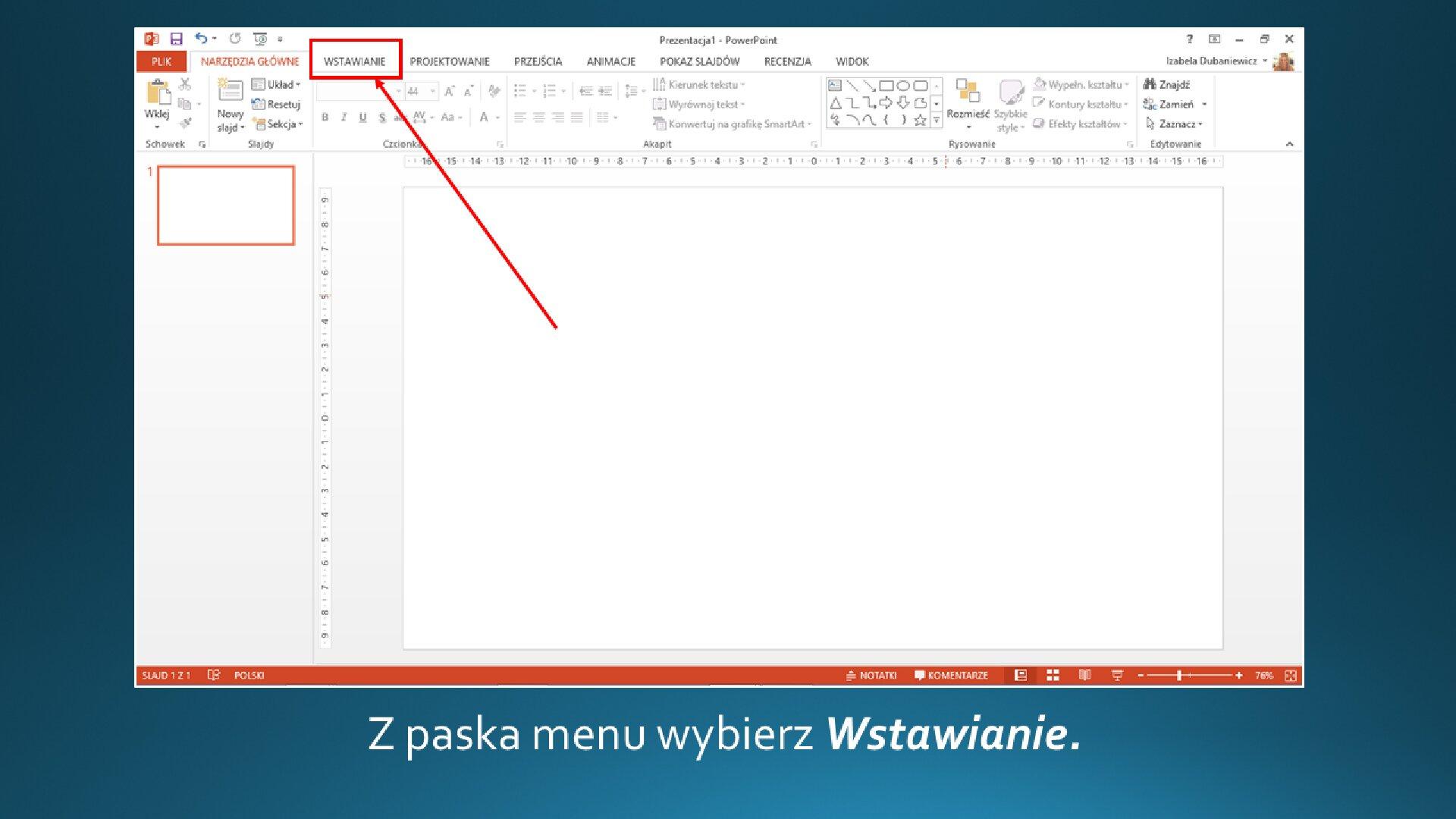 Slajd 1 galerii zrzutów slajdów: Wstawianie grafiki na slajd opustym układzie wprogramie MS PowerPoint