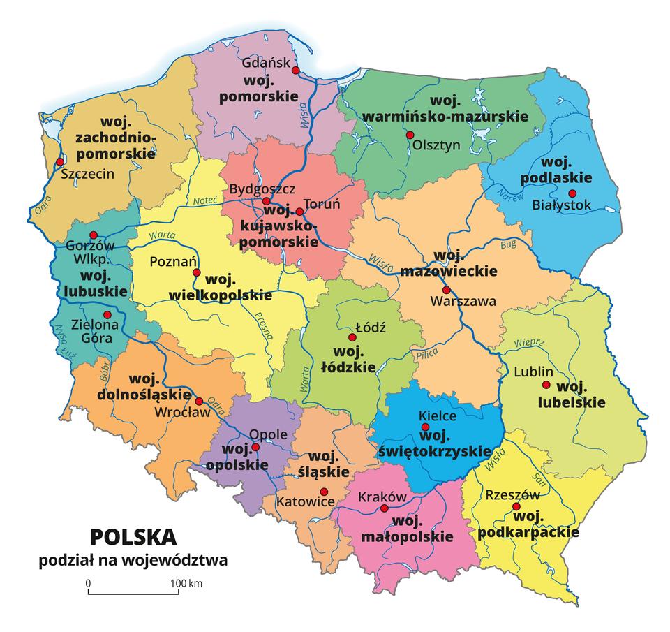 Mapa Polski zpodziałem administracyjnym na siedemnaście województw. Każde województwo oznaczone innym kolorem.