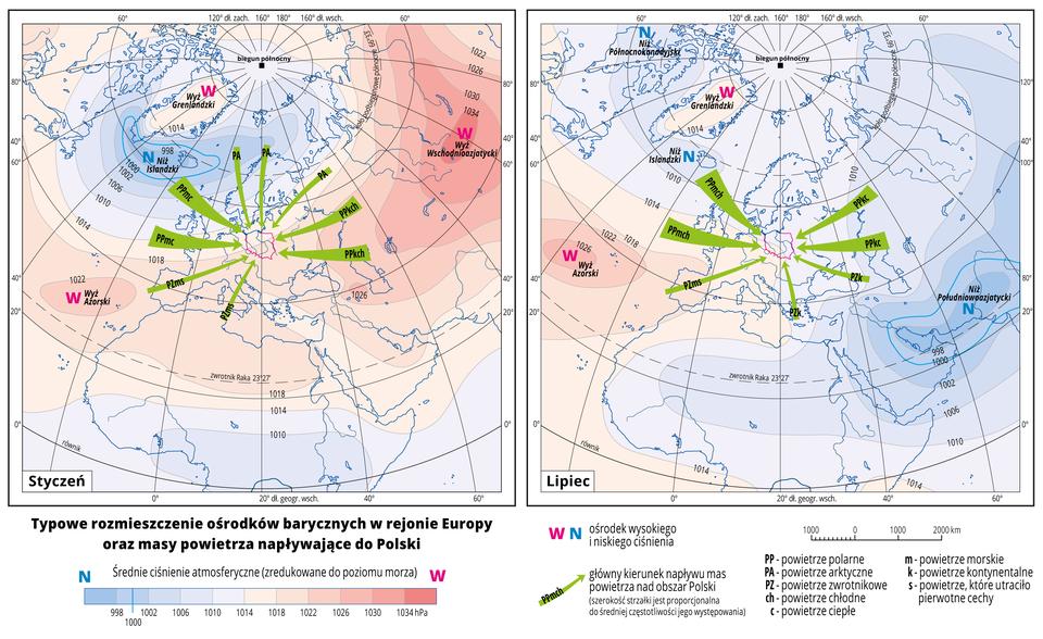 Ilustracja przedstawia dwie mapy Europy iobrazuje typowe rozmieszczenie ośrodków barycznych wtym rejonie oraz masy powietrza napływające do Polski wstyczniu ilipcu ze wszystkich kierunków. Na mapach kolorami zaznaczono wartości ciśnienia atmosferycznego zredukowane do poziomu morza. Odcienie koloru pomarańczowego oznaczają obszary owysokim ciśnieniu, odcienie koloru niebieskiego oznaczają obszary oniskim ciśnieniu. Czerwonymi literami Wopisano ośrodki wysokiego ciśnienia, niebieskimi literami Nopisano ośrodki niskiego ciśnienia. Podano również nazwy ośrodków wysokiego iniskiego ciśnienia. Wstyczniu niże są wokolicach Islandii, awyże na Azorach iwe wschodniej Azji. Wlipcu niże obejmują większą część mapy, awyż jest jedynie na Azorach ina Grenlandii. Zielonymi strzałkami oznaczono główny kierunek napływu mas powietrza nad obszar Polski (szerokość strzałki jest proporcjonalna do średniej częstotliwości jego występowania).W styczniu zośrodka niżowego na Islandii płynie do Polski ciepłe morskie powietrze, azośrodka wyżowego we wschodniej Azji – powietrze kontynentalne chłodne. Wlipcu Niż Islandzki przynosi chłodne powietrze morskie, aniże azjatyckie – ciepłe powietrze kontynentalne. Na mapie opisano izobary co cztery hektopaskale. Najniższa wartość wynosi dziewięćset dziewięćdziesiąt osiem hektopaskali, najwyższa wartość wynosi tysiąc trzydzieści cztery hektopaskale. Mapy pokryte są równoleżnikami ipołudnikami. Dookoła map wbiałych ramkach opisano współrzędne geograficzne co dwadzieścia stopni. Na dole mapy wlegendzie opisano kolory iznaki użyte na mapie.
