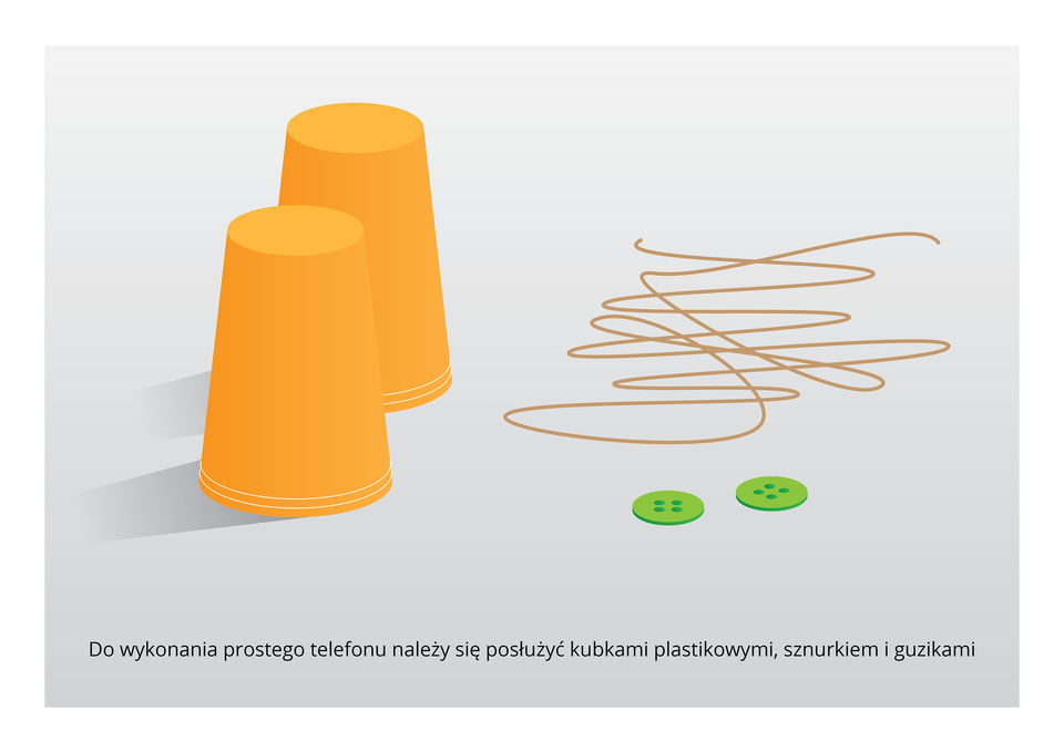 Galeria prezentuje sposób na wykonanie telefonu zplastikowych kubków. Pierwsza ilustracja przedstawia dwa kubki, guziki isznurek.