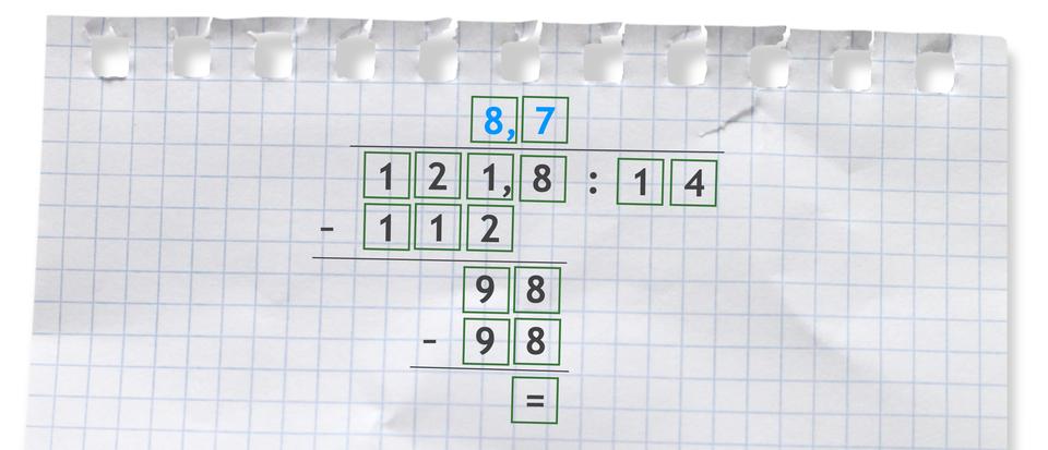 Przykład dzielenia sposobem pisemnym: 121,8 dzielone 14 =8,7,