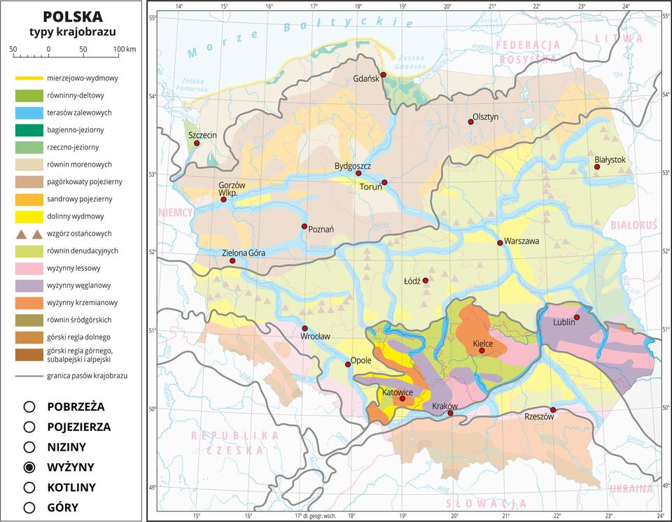 Ilustracja przedstawia mapę Polski. Na mapie za pomocą kolorów przedstawiono typy krajobrazu. Na mapie przedstawiono iopisano rzeki ijeziora, miasta, przedstawiono granice Polski igranice województw, opisano nazwy państw sąsiadujących. Szarymi liniami przedstawiono granice pasów krajobrazu. Mapa składa się zwarstw, które można dowolnie wyłączać. Na kolejnych warstwach przedstawiono jakie typy krajobrazu występują wposzczególnych pasach rzeźby terenu, wśród których wydzielono: pobrzeża, pojezierza, niziny, wyżyny, kotliny igóry. Warstwa wyżyn: Na tej warstwie występują różnorodne typy krajobrazu: wyżynny węglanowy (kolor fioletowy), wyżynny lessowy (kolor różowy), wyżynny krzemianowy (kolor ceglasty)oraz krajobraz równin denudacyjnych idolin wydmowych. Wdolinach rzek występuje krajobraz terasów zalewowych oznaczony kolorem niebieskim.