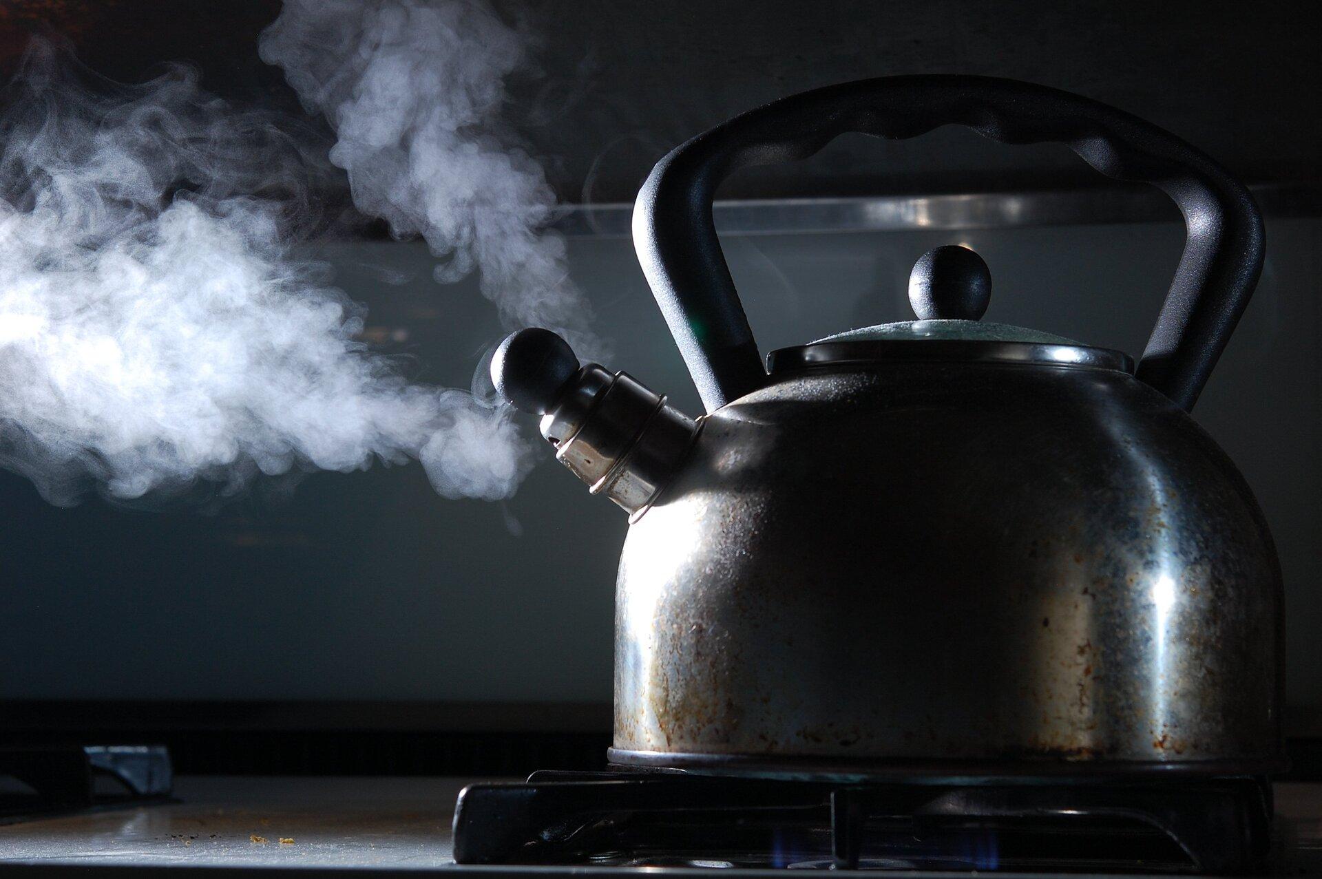 Zdjęcie przedstawia pokazany zboku stojący na palniku kuchenki gazowej czajnik. Naczynie ipalnik zajmują prawą stronę kadru, czajnik zwrócony jest gwizdkiem wlewą stronę. Zgwizdka wylatuje rozdwojony strumień pary, który podobnie jak lewa część czajnika podświetlony zostaje przez strumień światła padający na scenę spoza lewej krawędzi kadru.