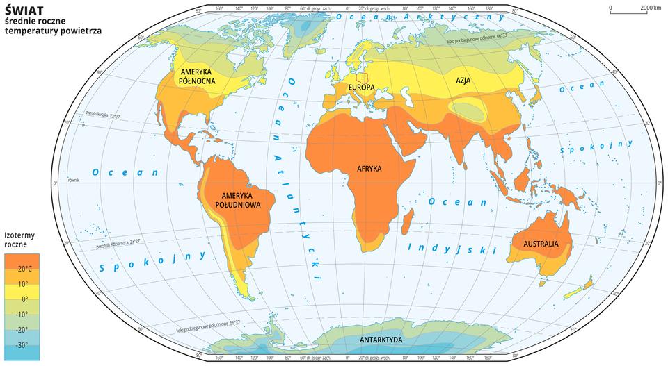 Ilustracja przedstawia mapę świata. Opisano kontynenty. Morza zaznaczono kolorem niebieskim. Opisano oceany. Czerwoną linią zaznaczono kontur Polski. Na mapie wobrębie lądów kolorami zaznaczono średnie roczne temperatury powietrza. Centralną część mapy pokrywa kolor pomarańczowy. Na północy kolor przechodzi wżółty izielony do niebieskiego. Na południu kolor przechodzi wzielony do niebieskiego. Mapa pokryta jest równoleżnikami ipołudnikami. Dookoła mapy wbiałej ramce opisano współrzędne geograficzne co dwadzieścia stopni. Po lewej stronie mapy wlegendzie umieszczono prostokątny pionowy pasek. Pasek podzielono na siedem części. Ugóry – ciemnopomarańczowy, dalej pomarańczowy, środek żółty przechodzący wzielony iciemnozielony, na dole niebieski do ciemnoniebieskiego. Każda część paska obrazuje dziesięciostopniowy przedział średniej rocznej temperatury powietrza. Ciemnopomarańczowy oznacza obszary najcieplejsze, ciemnoniebieski – najzimniejsze. Odcieniami koloru pomarańczowego zaznaczono obszary ośredniej rocznej temperaturze powietrza powyżej dziesięciu stopni Celsjusza, kolorem żółtym – od zera do dziesięciu stopni Celsjusza. Kolorem zielonym iniebieskim zaznaczono temperatury poniżej zera. Obszary onajniższej średniej rocznej temperaturze powietrza – poniżej trzydzieści stopni Celsjusza znajdują się na Grenlandii ina Antarktydzie. Obszary oznaczone kolorem ciemnopomarańczowym, oznaczającym średnią roczną temperaturę powietrza powyżej dwudziestu stopni Celsjusza znajdują się wAfryce, Ameryce Południowej, Australii ipołudniowej części Azji.