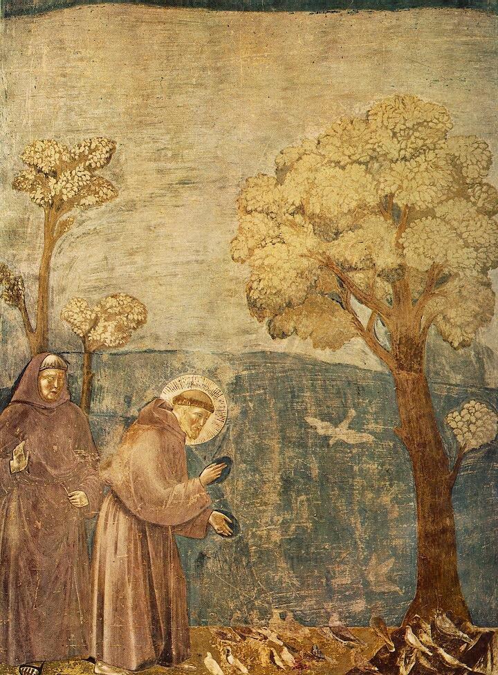 Kazanie do ptaków Źródło: Giotto di Bondone, Kazanie do ptaków, 1280–1283, domena publiczna.
