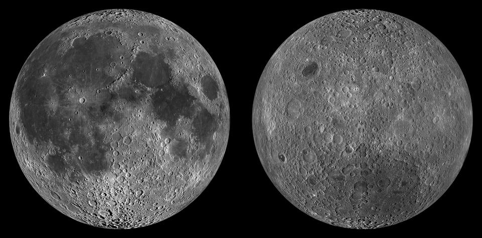 Zdjęcia widocznej zZiemi (z lewej strony) inie widocznej półkuli Księżyca. Widoczne morza (ciemniejsze obszary) na półkuli zwróconej do Ziemi