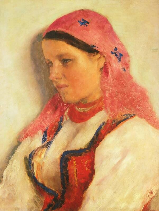 Dziewczyna zBronowic Źródło: Aleksander Gierymski, Dziewczyna zBronowic, 1893–1894, olej na płótnie , Muzeum Narodowe wKrakowie, domena publiczna.
