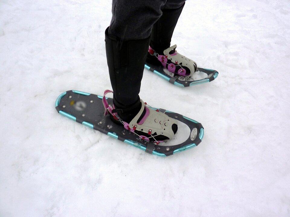 Zdjęcie przedstawia rakiety śnieżne. Na zdjęciu widać tylko kolana istopy demonstratora. Demonstrator na zdjęciu ma założone rakiety śnieżne na swoje buty. Spodnie ibuty czarne. Demonstrator stoi na śniegu. Rakiety są płaskie, większe niż podeszwy butów demonstratora. Rakiety są ciemnoszare, obramowanie niebieskie. Przód rakiety delikatnie uniesiony, szerszy niż tył.