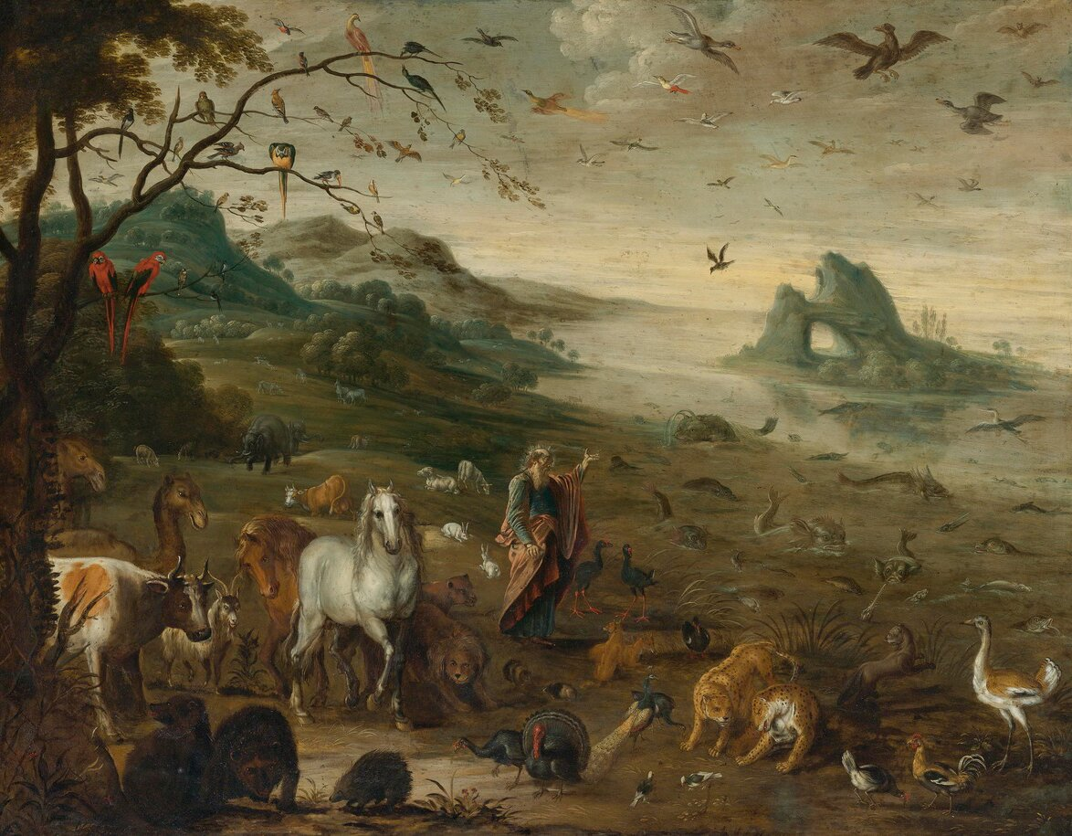 Bóg tworzący zwierzęta Źródło: Izaak van Oosten, Bóg tworzący zwierzęta, XVII wiek, olej na miedzi, domena publiczna.