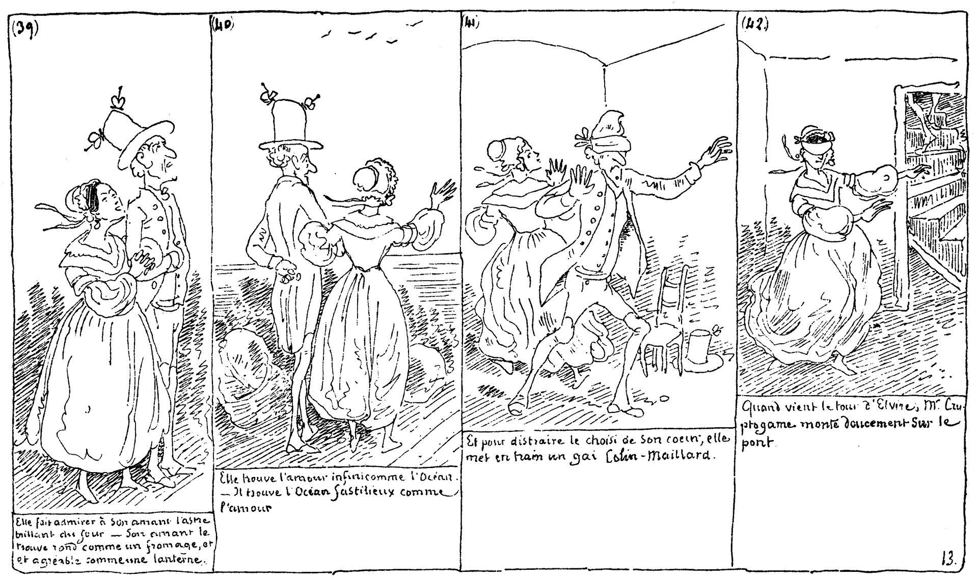"""Ilustracja przedstawia fragment historyjki obrazkowej, autorstwa Rodolphe Topffera """"Histoire de Monsieur Cryptogame"""". Historyjka składa się zczterech czarno - białych obrazków. Na pierwszym widzimy, zprofilu, dwie osoby – idącą pod rękę parę. Na drugim obrazku widzimy tę samą parę od tyłu. Trzeci obrazek przedstawia zabawę wchowanego - para znajduje się wpomieszczeniu, mężczyzna ma zasłonięte oczy. Na czwartym obrazku zasłonięte oczy ma kobieta. Pod każdym obrazkiem umieszczony został tekst."""