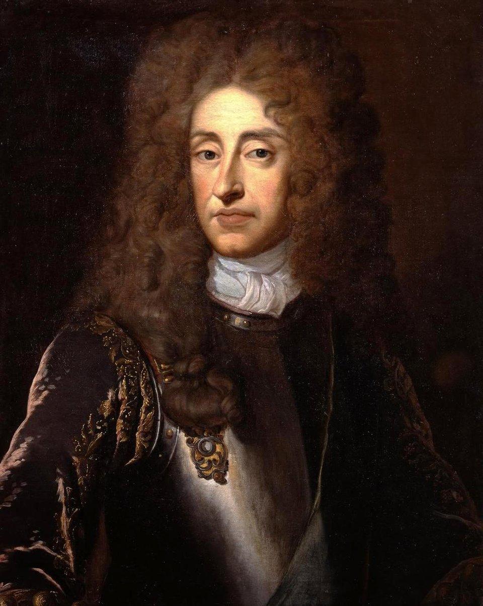 Portretkróla Jakuba II Stuarta. Pracownia Godreya Knellera ok. 1680 r. Portretkróla Jakuba II Stuarta. Pracownia Godreya Knellera ok. 1680 r. Źródło: Godfrey Kneller, ok. 1680, domena publiczna.