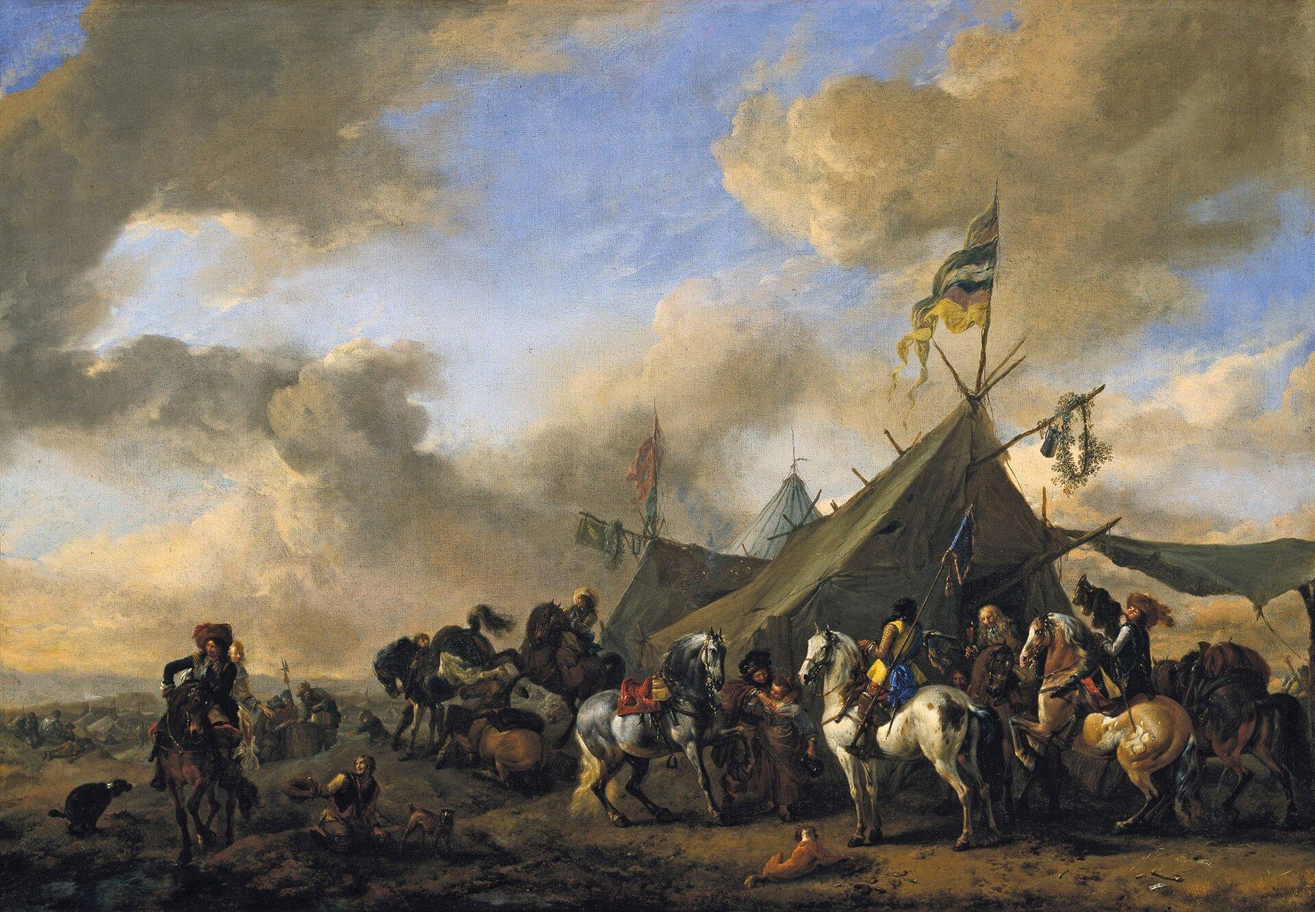 """Zdjęcie przedstawia obraz Philipsa Wouwermana pt. """"Obóz wojskowy"""". Wouwerman to holenderski malarz barokowy. Na pierwszym planie ukazani są mężczyźni, którzy siedzą na koniach. Za nimi ukazany jest obóz, gdzie rozstawione są namioty."""