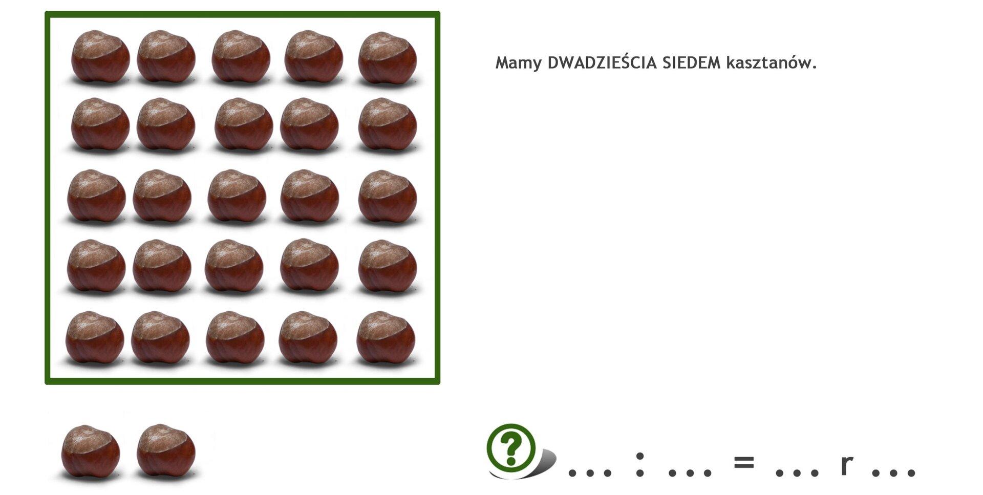 Na rysunku 27 kasztanów. Podzielono je na 5 rzędów po pięć kasztanów wkażdym. Zostały 2 kasztany.