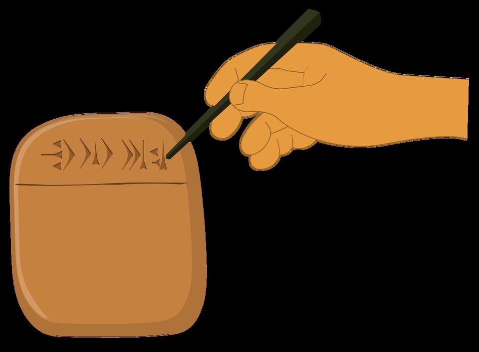 Kliny odciskano na tabliczce za pomocą trzcinowego patyczka zwanego rylcem Kliny odciskano na tabliczce za pomocą trzcinowego patyczka zwanego rylcem Źródło: Contentplus.pl sp. zo.o., licencja: CC BY 3.0.