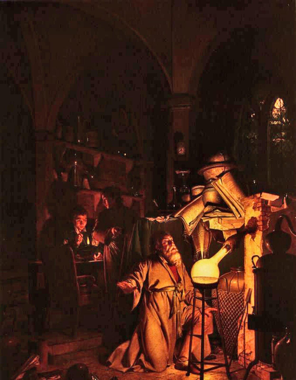 Obraz amerykańskiego malarza Josepha Wrighta z1771 roku, zatytułowany Alchemik lub Alchemik odkrywa fosfor. Prezentuje wnętrze mrocznej pracowni wstylu gotyckim, pełną alchemicznych przyrządów iksiąg. Wprawym dolnym rogu na pierwszym planie stoi stary, siwobrody alchemik wszarej szacie klęczy patrząc zzachwytem na wielką kolbę na stojaku podłączoną do aparatu do destylacji. Szklane naczynie wypełnia biały, świecący płyn. Tuż za uczonym stoi stół nakryty zielonym suknem izastawiony księgami, ajeszcze wyżej wysokie gotyckie okno, za którym widać nocne niebo zksiężycem wpełni. Po lewej stronie wgłębi sceny znajduje się ściana zpółkami zastawionymi sprzętem laboratoryjnym idwóch młodych uczniów, zktórych jeden trzyma zapalony kaganek, adrugi zuśmiechem wskazuje mistrza.