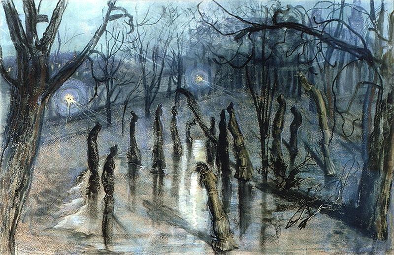 Chochoły (Planty nocą) Źródło: Stanisław Wyspiański, Chochoły (Planty nocą), 1898-1899, Pastel na papierze, Muzeum Narodowe wWarszawie, domena publiczna.
