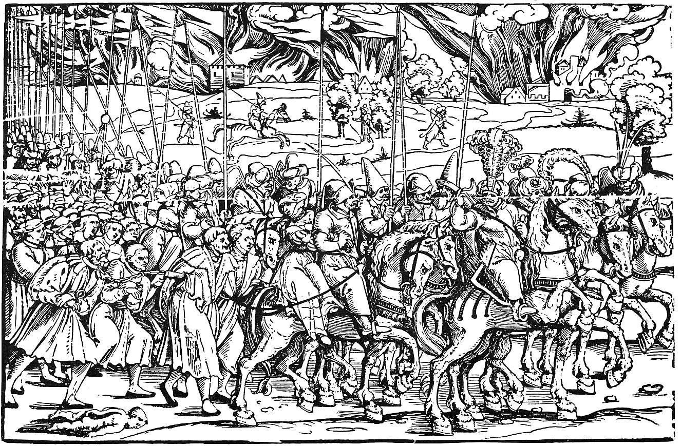 Turecki jasyr Turecki jasyr prowadzonypodczas wojen węgierskich wXVIw. Źródło: Erhard Schön, Turecki jasyr, po. 1530, domena publiczna.