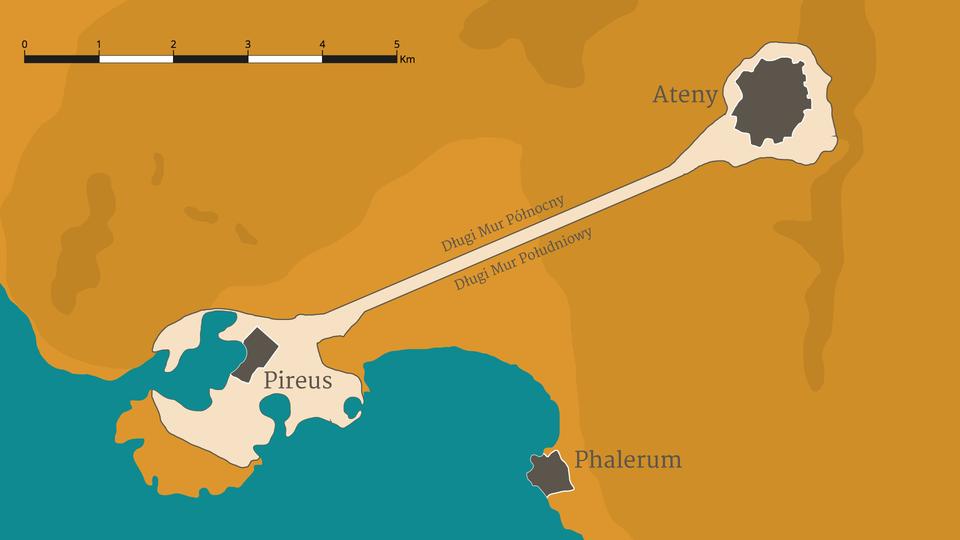 Długie Mury łączyły Ateny zportem wPireusie Długie Mury łączyły Ateny zportem wPireusie Źródło: Contentplus.pl sp. zo.o..