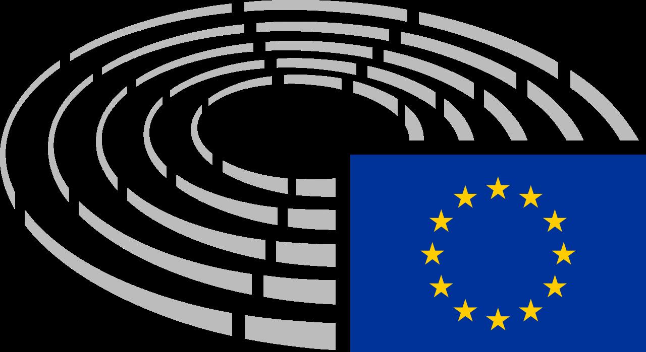 Ilustracja przedstawia logo parlamentu europejskiego. Pięć okręgów obok siebie od najmniejszego do największego symbolizujące ławy europosłów. Wprawym dolnym rogu flaga Unii Europejskiej.