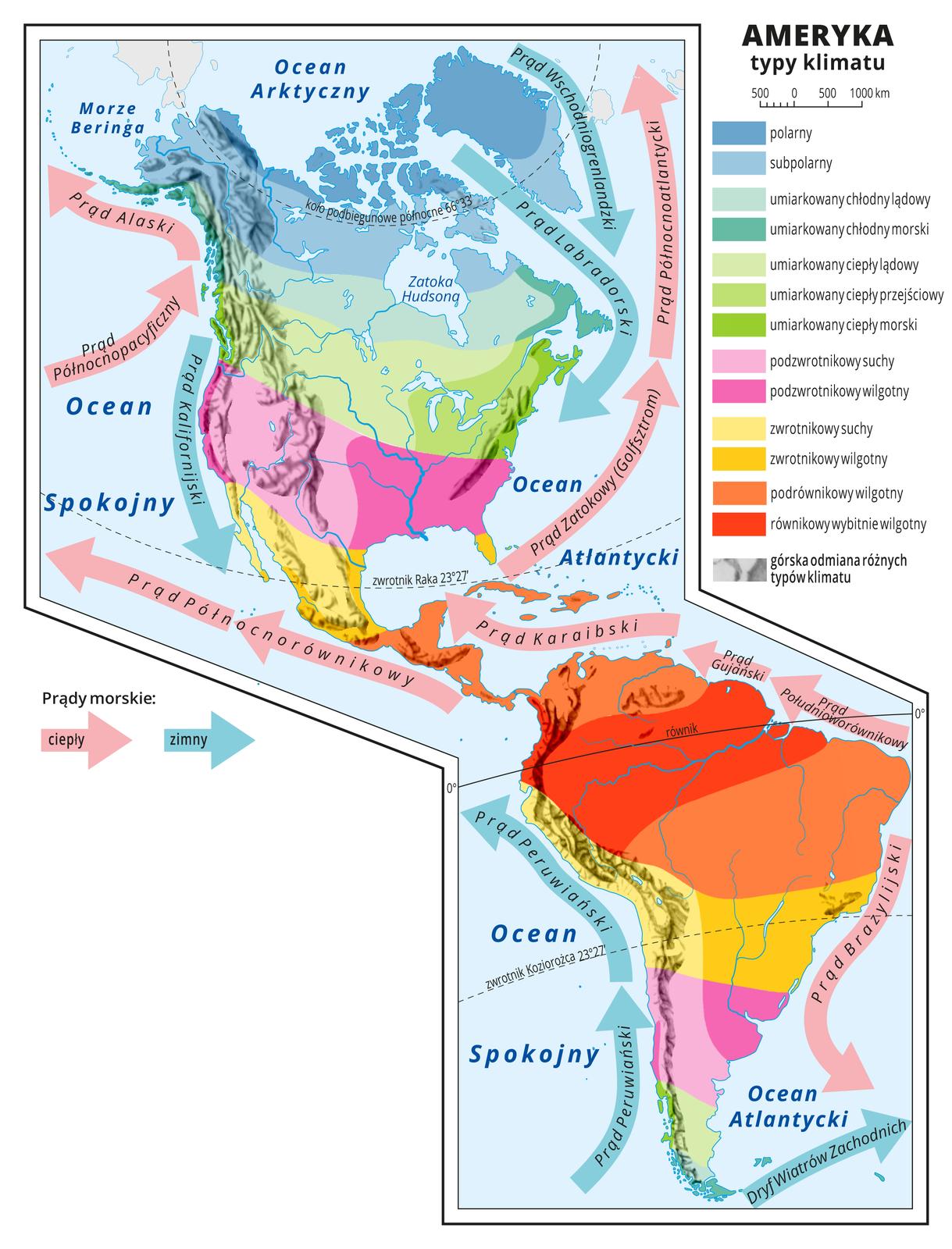 Ilustracja przedstawia mapę typów klimatu wAmeryce. Kolorami oznaczono typy klimatu, układają się one pasami oprzebiegu równoleżnikowym. Wzdłuż równika klimat równikowy wybitnie wilgotny ipodrównikowy wilgotny. Na zwrotnikach klimat zwrotnikowy suchy izwrotnikowy wilgotny. Na północ od zwrotnika Raka ina południe od zwrotnika Koziorożca klimat podzwrotnikowy suchy ipodzwrotnikowy wilgotny. Dalej strefa klimatów umiarkowanych (lądowe imorskie, ciepłe ichłodne oraz przejściowy). Na północy klimat polarny isubpolarny. Wzdłuż wybrzeży kontynentu strzałkami przedstawiono prądy morskie. Ciepłe płyną od równika na północ ina południe, zimne płyną zpółnocy ipołudnia ku równikowi. Na mapie poprowadzono równik iopisano go. Wlegendzie umieszczono iopisano kolory użyte na mapie.