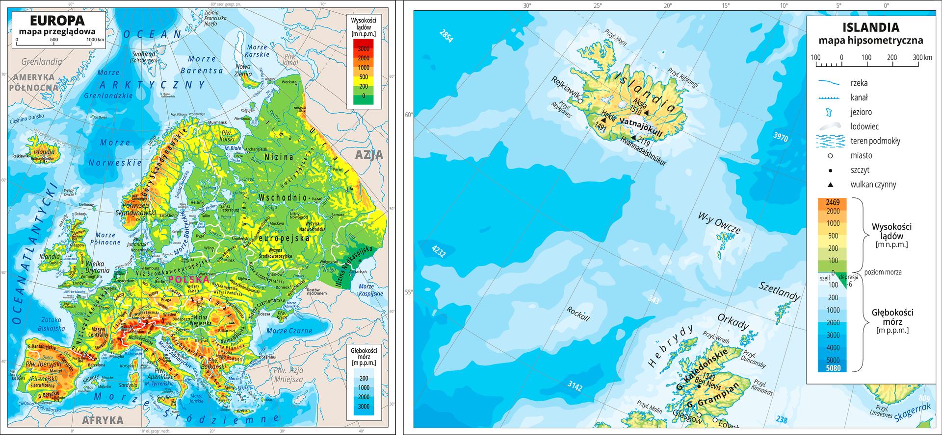 Dwie mapy obok siebie ukazują położenie Islandii, na mapie po lewej stronie pokazano Europę oraz oraz Islandię umiejscowioną po północno – wschodniej stronie Europy na Oceanie Atlantyckim. Obok mapa ukazuje samą Islandię na Oceanie Atlantyckim. Na obu mapach zastosowano skalę barw dla ukazania wysokości. Kolor zielony oznacza niziny, żółty -wyżyny, aczerwony - góry. Kolorem niebieskim zaznaczono morza ioceany. Białe plamy na terenie Islandii to lodowce.