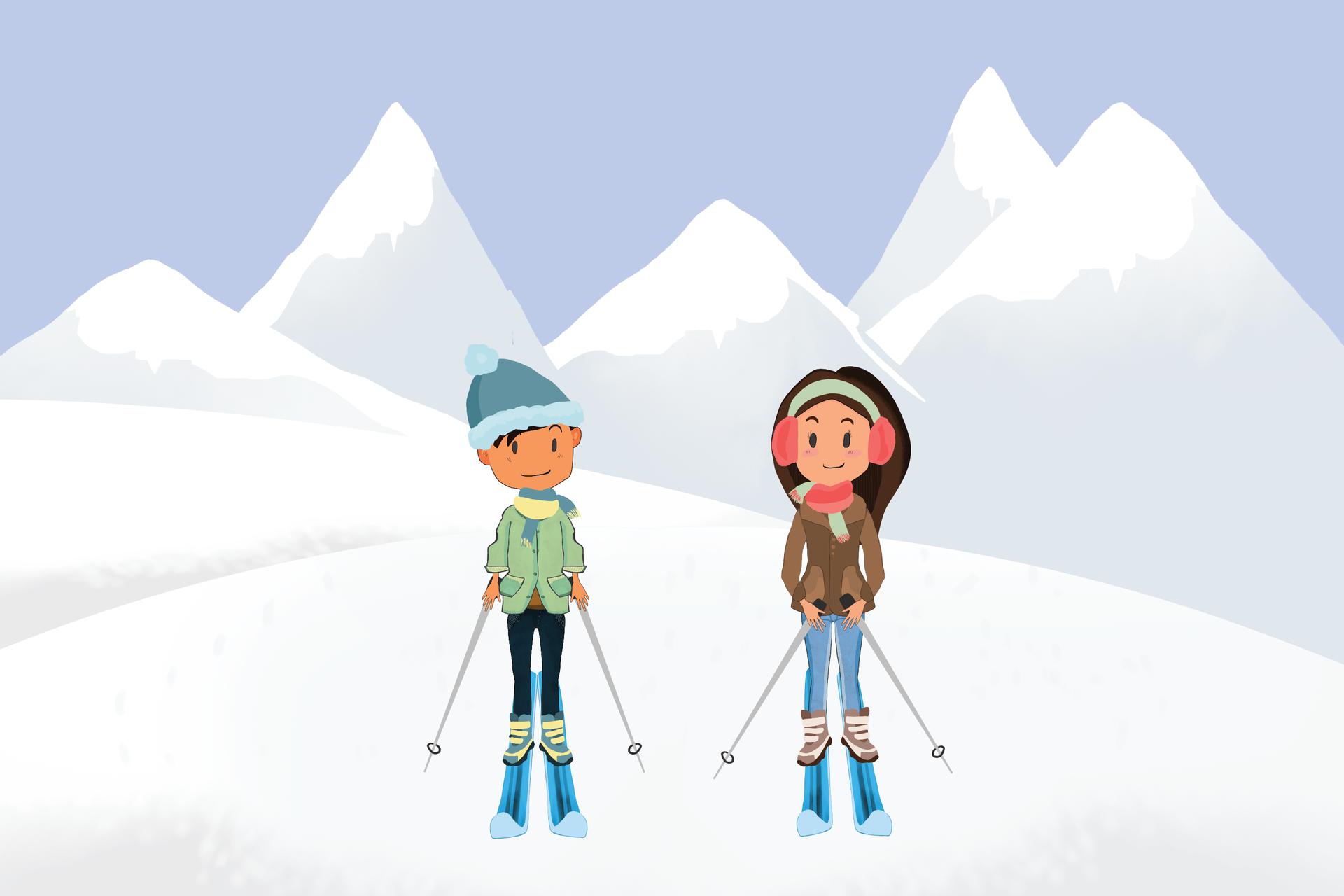 Rysunek chłopca idziewczynki na stoku narciarskim.
