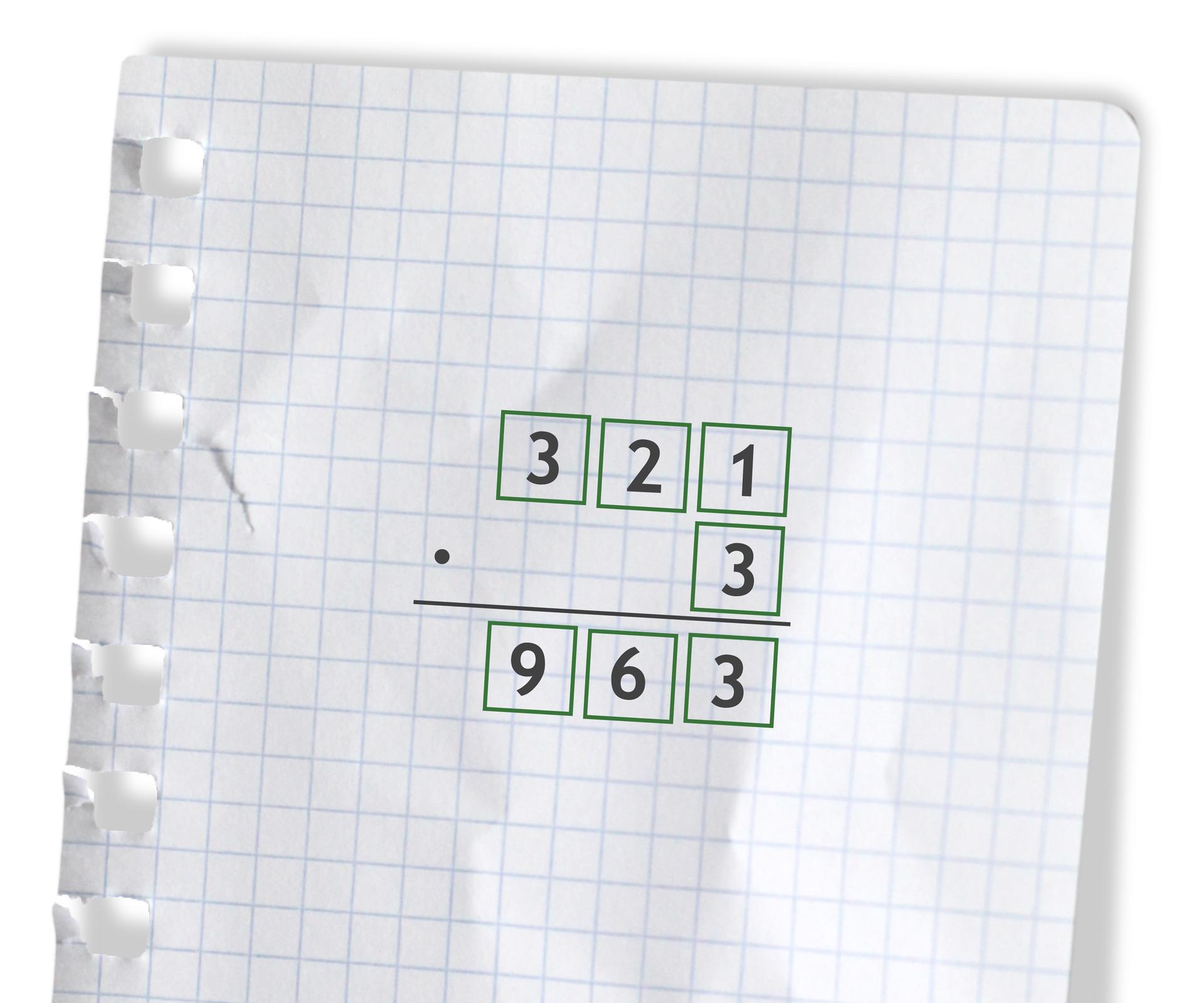 Przykład: 321 razy 3 =963. Rozwiązanie zadania podpunkt b.