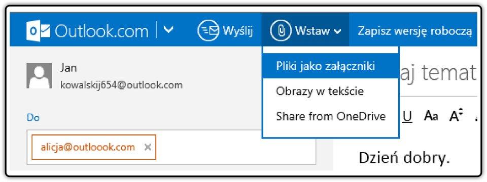 Zrzut fragmentu okna poczty Outlook.com zpokazaną listą rozwijalną: Wstaw