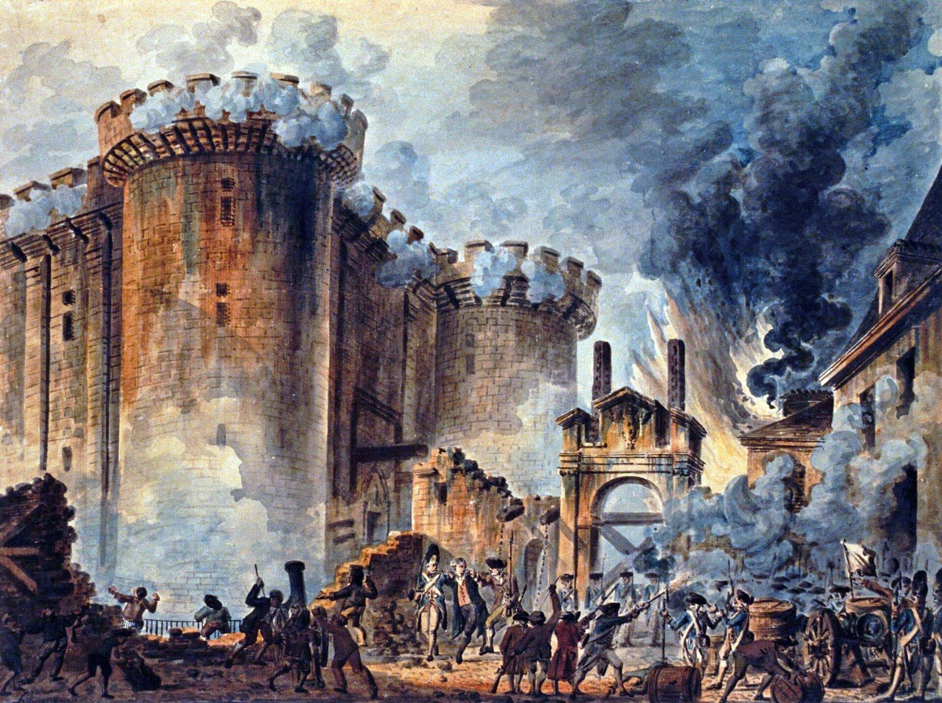 Zburzenie Bastylii Bastylia była zamkiem zamienionym wciężkie więzienie; wyzwolenie (zaledwie kilku) więźniów stało się symbolicznym rozpoczęciem WielkiejRewolucji Francuskiej. Źródło: Jean-Pierre Houël, Zburzenie Bastylii, 1789, akwarela, Biblioteka Narodowa Francji, domena publiczna.