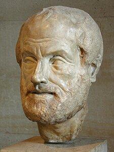Zdjęcie przedstawia kamienną rzeźbę głowy Arystotelesa. Mężczyzna wwieku ok. 60 lat. Krótka, gęsta broda. Na czole widoczne głębokie, poziome zmarszczki oraz pionowe zmarszczki pomiędzy brwiami. Nos prosty, długi. Usta wąskie.