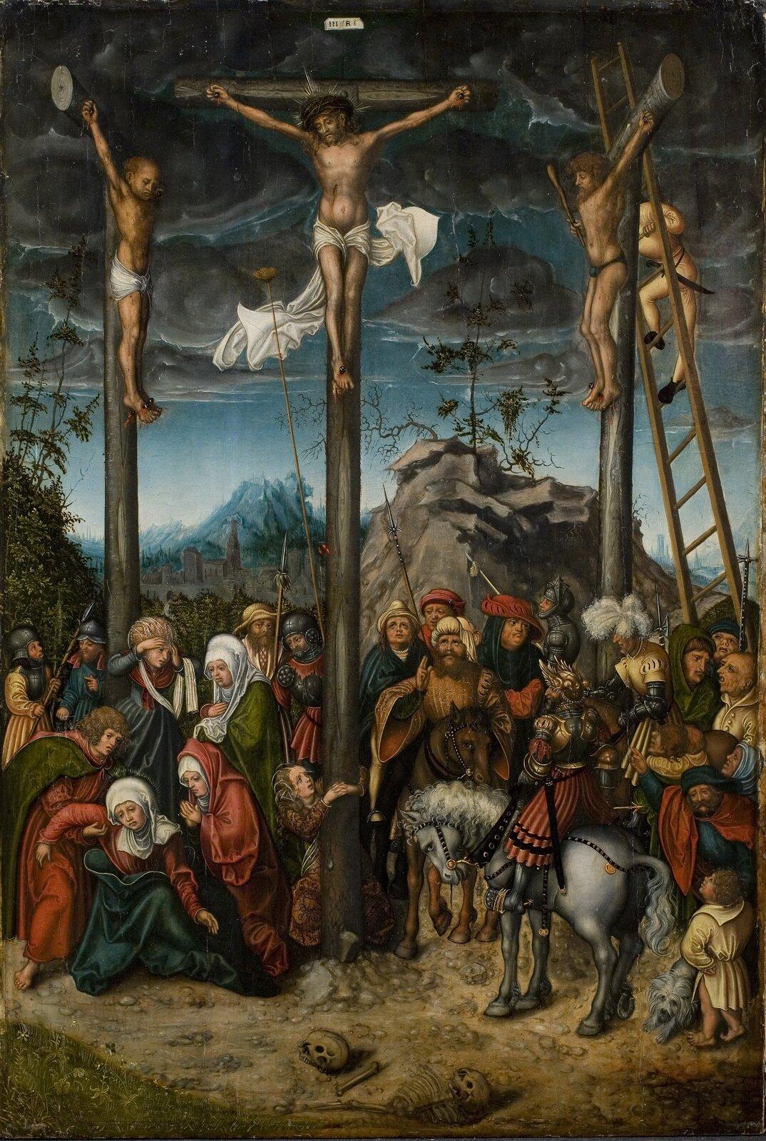 Ukrzyżowanie Źródło: Lucas Cranach starszy, Ukrzyżowanie, ok. 1505–1520, olej na desce, domena publiczna.